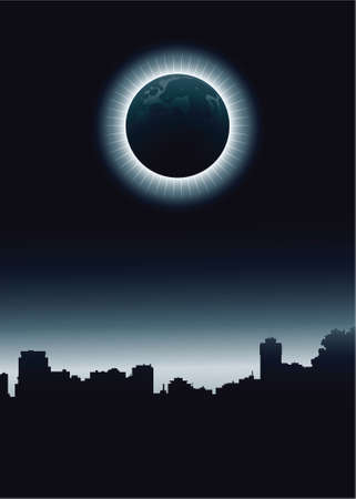 ontario: A total eclipse over the skyline of a dark city. Illustration
