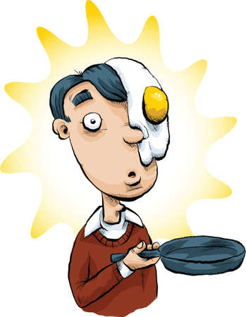embarrassed: A cartoon man who had a frying pan accident and flipped egg on his face.
