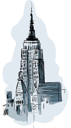 Illustration of the Empire State Building in New York City, USA.