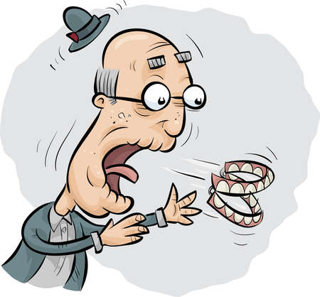 A cartoon senior man reacts when his teeth pop out. Illustration