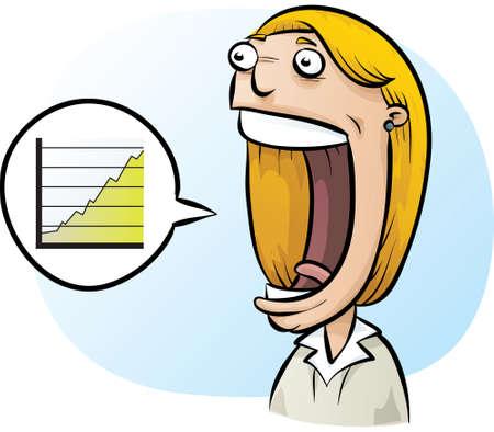excitement: A cartoon businesswoman expresses excitement about a progress chart.