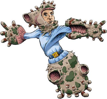 A cartoon man wearing a biological, genetically-engineered exoskeleton.