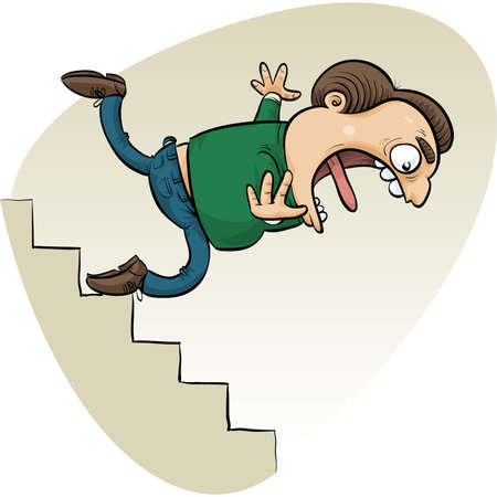A cartoon man trips and falls down the stairs. Vector