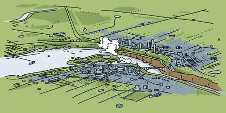 niagara falls city: A cartoon landscape view of Niagara Falls from the sky.