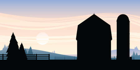 Cartoon silhouette of a barn and silo on a farm.