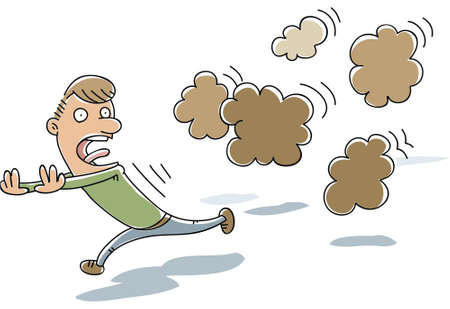 A cluster of stinky, cartoon farts chase a frightened man. Illustration