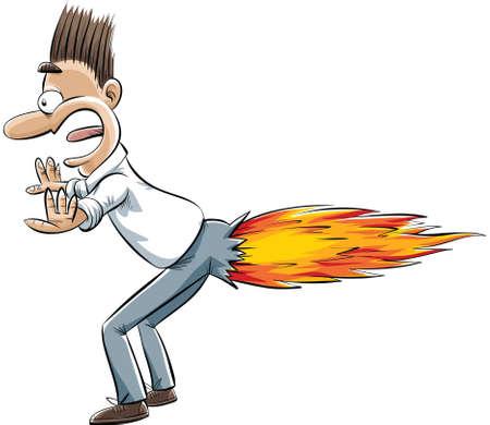 brandweer cartoon: Een cartoon man scheet ontbrandt in een raket ontploffing.