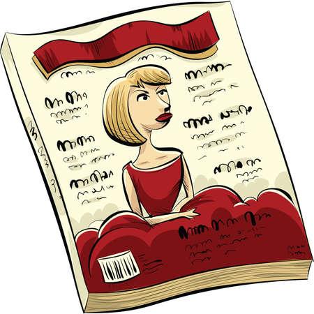 Een cartoon modeblad met een vrouw in het rood op de cover.