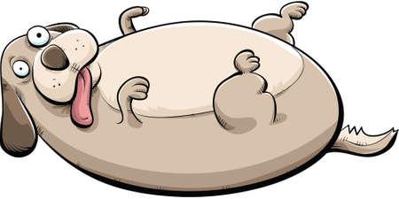Cartoon of a big, fat dog lying on his back. Vector
