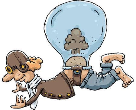 A cartoon pilot fuels his balloon with farts. Vector