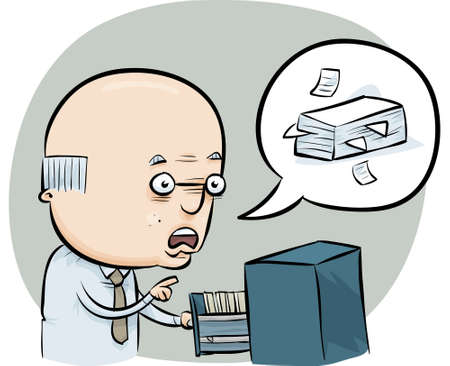 A cartoon man talks about managing the office files.