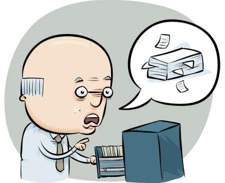 Een cartoon man praat over het beheer van de Office-bestanden.