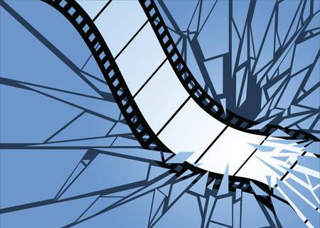 Film strip smashing through a surface. Ilustração
