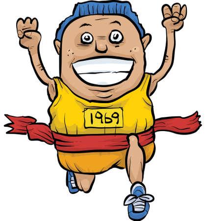 reaches: A cartoon runner reaches the finish line.