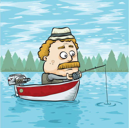A cartoon man fishing in an aluminum boat on a lake. Vector