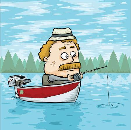 Een cartoon man vissen in een aluminium boot op een meer. Vector Illustratie