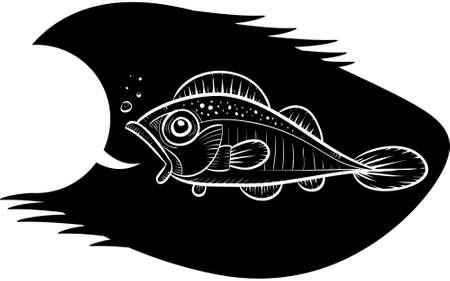 빈 연설 거품과 이야기하는 물고기의 만화 개요. 일러스트
