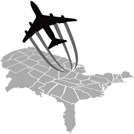 A cartoon jet flies over a map of the United States. Banco de Imagens - 29157272