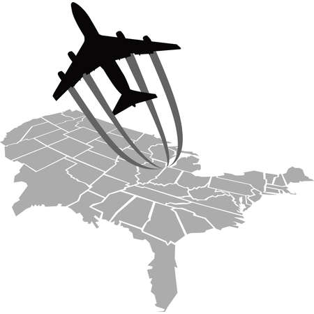 takeoff: A cartoon jet flies over a map of the United States. Illustration