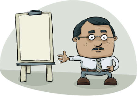 A cartoon man makes a presentation using a flipchart.