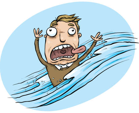 A cartoon man is swept up in a flood of water.