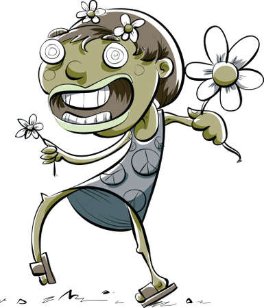 A cartoon zombie girl walking and holding flowers.