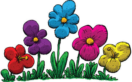 garden plant: A group of cartoon flowers. Illustration