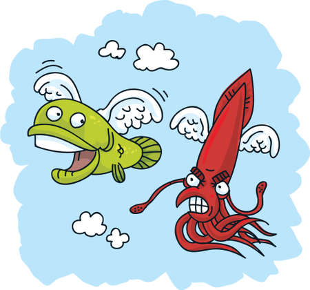 angry sky: A flying cartoon squid chases a flying fish.