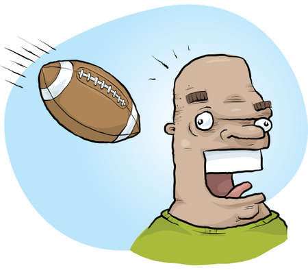 tough: A cartoon man unaware that a football is targeting his head.