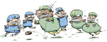 Cartoon football players compete in a rough football game.