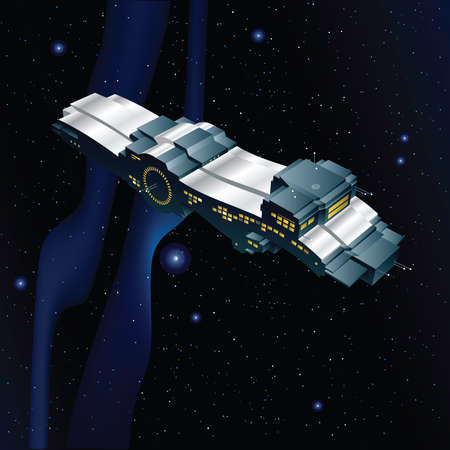 freighter: A cartoon space freighter moving between the stars.