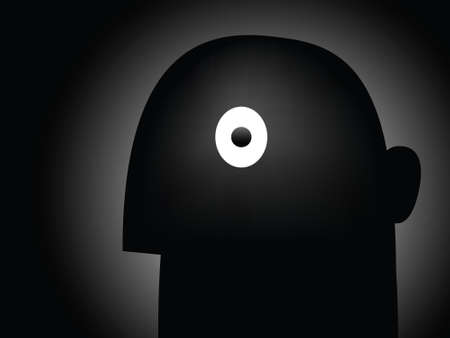 A cartoon mans eye is filled with fright.