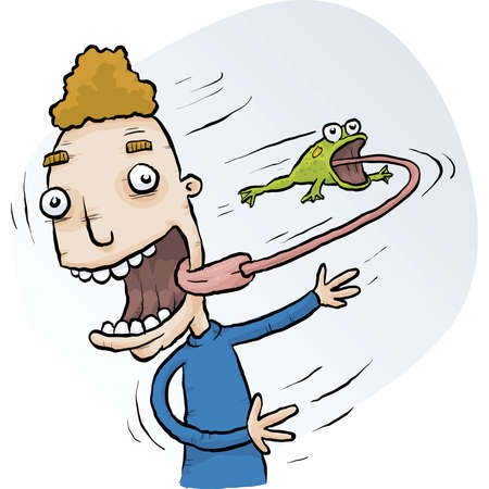 A cartoon man spins a frog that has its tongue attached to his. Ilustração