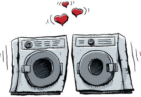 A cartoon frontloading washer and dryer fall in lover.
