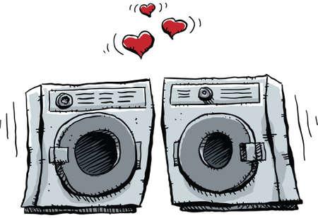 Een cartoon vooraf wasmachine en droger vallen in minnaar.