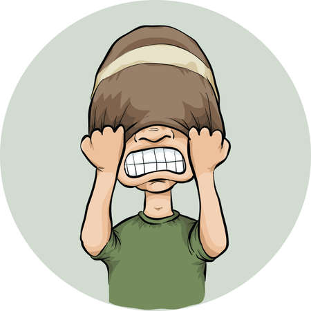 frustration: A cartoon man pulls his toque over his eyes in frustration. Illustration