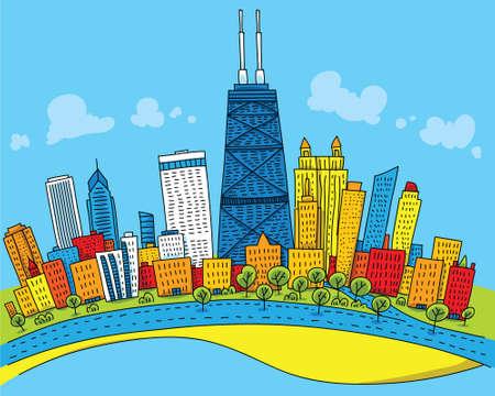 chicago: Cartoon skyline of downtown Chicago, Illinois, USA.