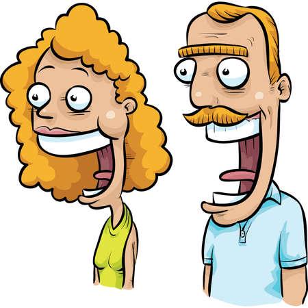 annoying: A fun, happy cartoon yuppie couple with big smiles.