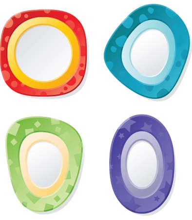 copyspace: A set of four, bright cartoon frames.
