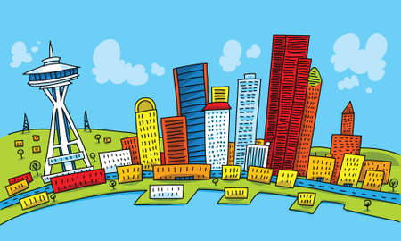 seattle: Bright cartoon of the city of Seattle, Washington, USA.