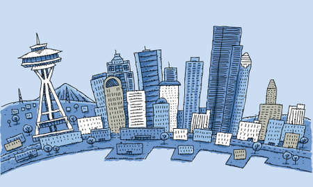 Cartoon skyline of the city of Seattle, Washington, USA. Çizim
