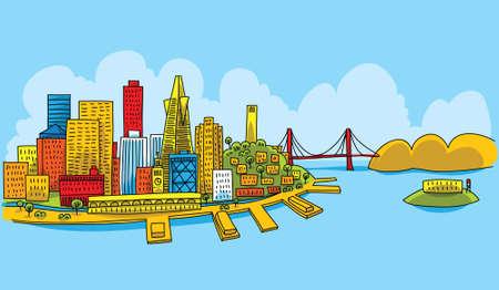 bay: Bright cartoon of the city of San Francisco, California, USA.  Illustration