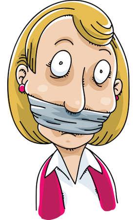Une femme de bande dessinée avec un bâillon sur la bouche