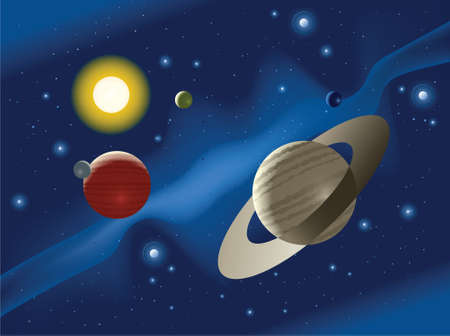 twinkles: Illustration of planets in a distant solar system