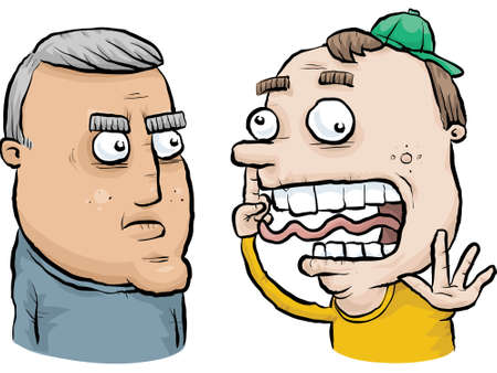 mismatch: A serious, middle aged cartoon man does not understand the goofy, younger man