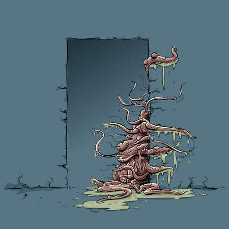 A cartoon tentacle monster pulls itself through a door.