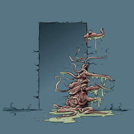 creeping: A cartoon tentacle monster pulls itself through a door.