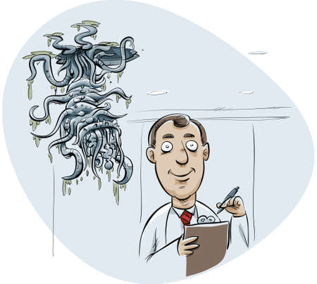 abomination: A scary cartoon creature lurks above an unsuspecting scientist.