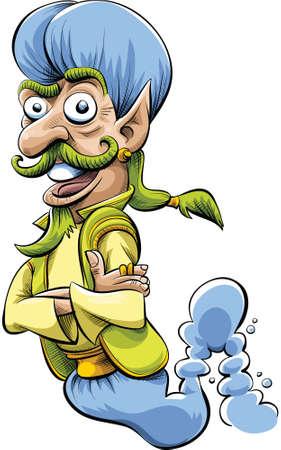 genie: A cartoon genie with a happy smile.