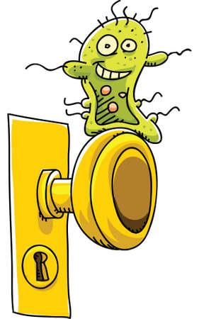 doorknob: A happy, cartoon germ waits on a doorknob to infect someone. Stock Photo